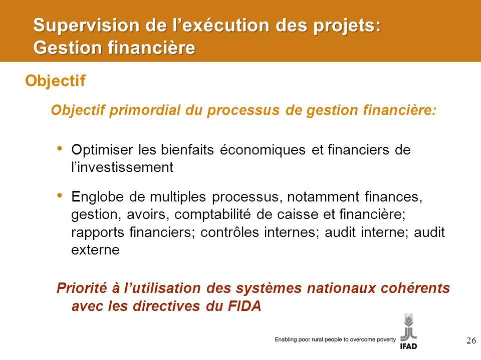 Supervision de l'exécution des projets: Gestion financière