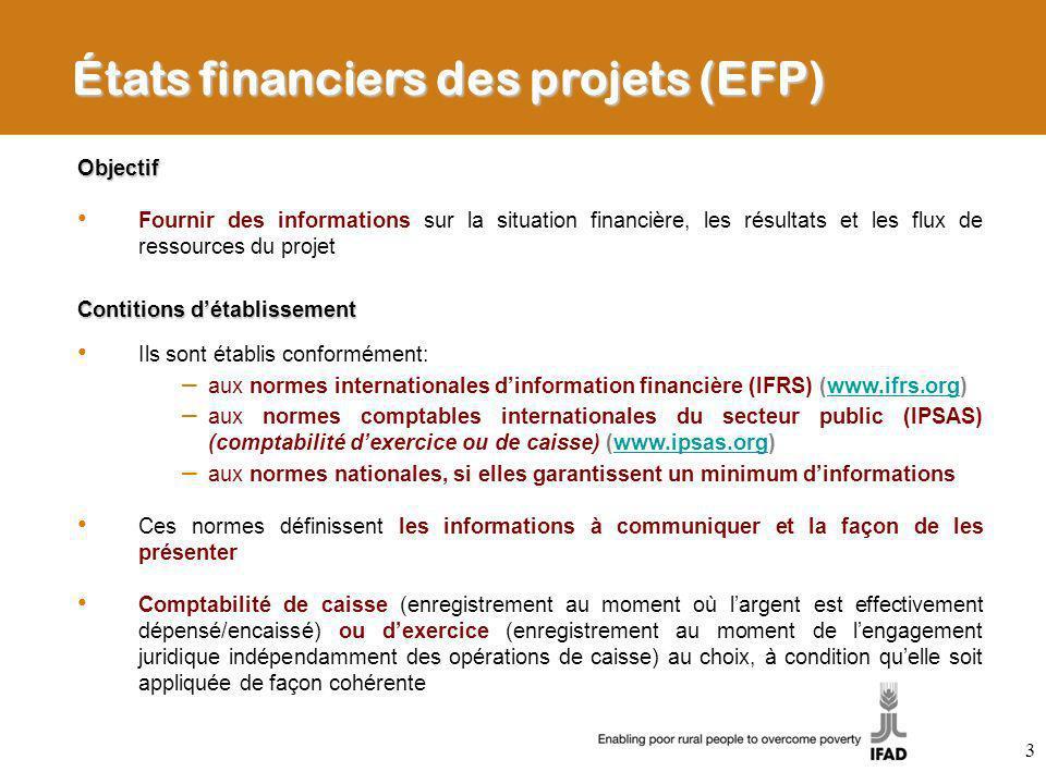 États financiers des projets (EFP)