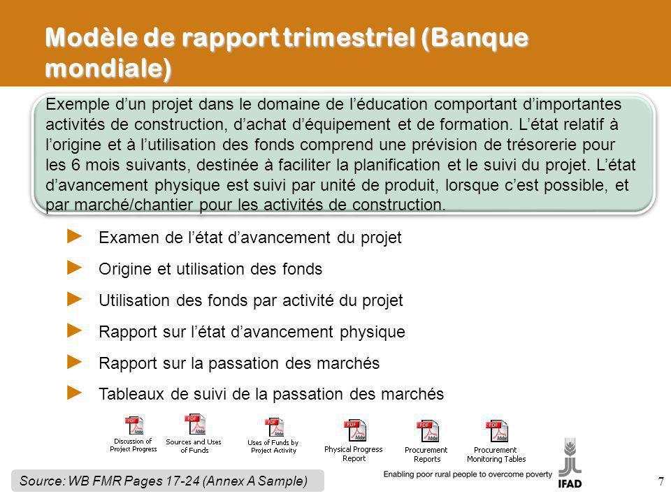 Modèle de rapport trimestriel (Banque mondiale)