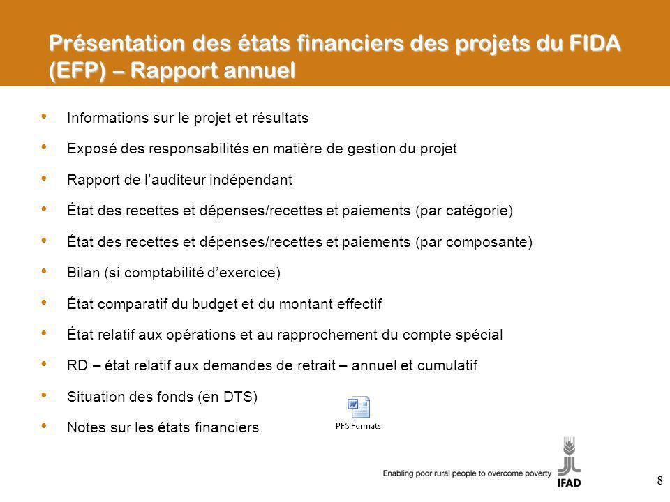 Présentation des états financiers des projets du FIDA (EFP) – Rapport annuel