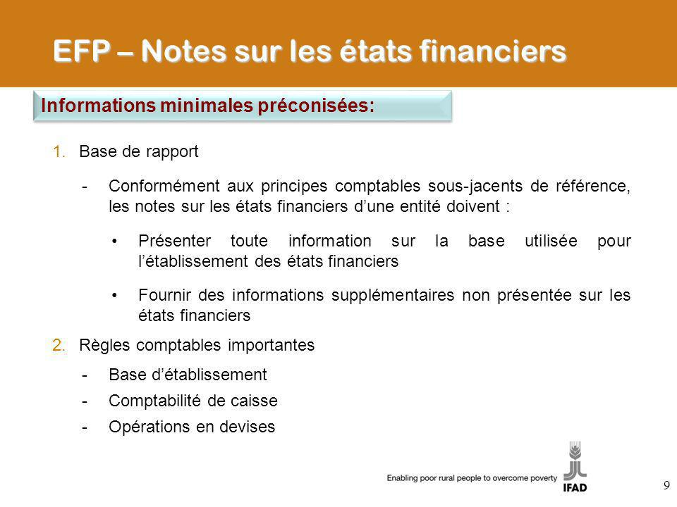 EFP – Notes sur les états financiers