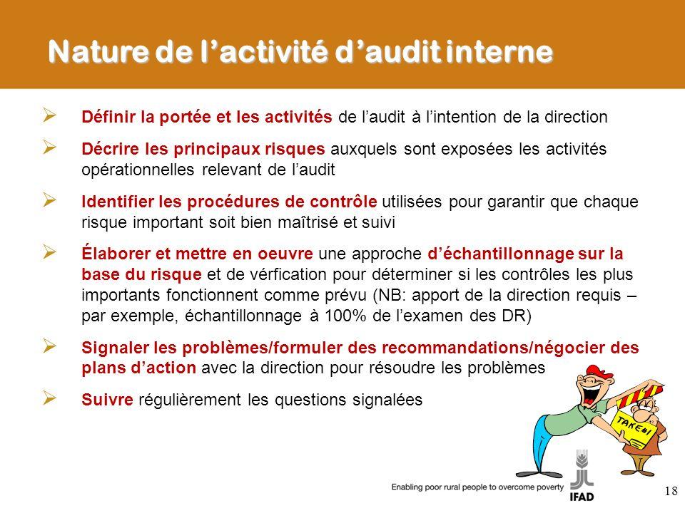 Nature de l'activité d'audit interne