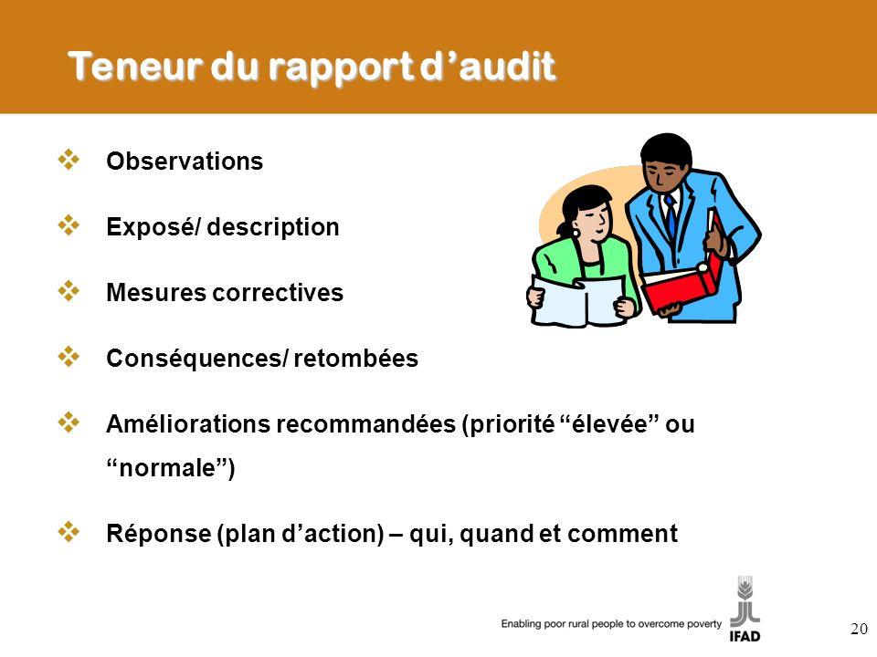 Teneur du rapport d'audit