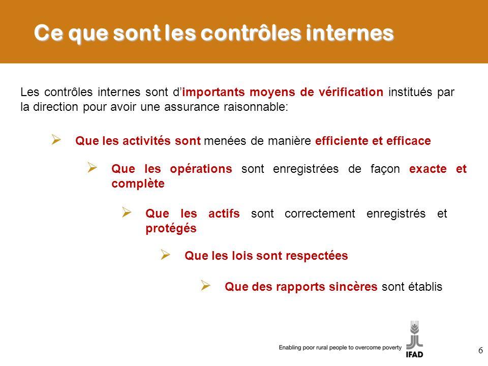 Ce que sont les contrôles internes