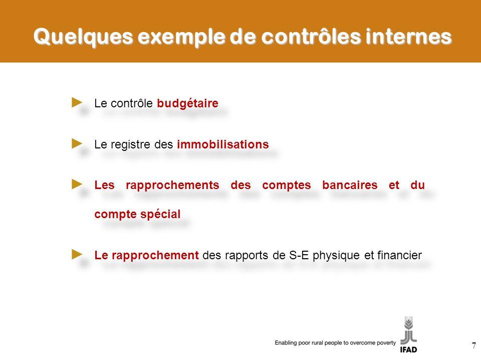 Quelques exemple de contrôles internes