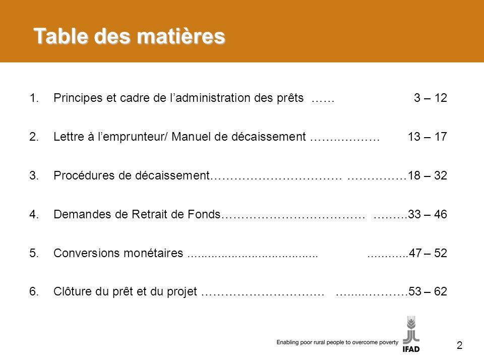 Table des matièresPrincipes et cadre de l'administration des prêts …… 3 – 12. Lettre à l'emprunteur/ Manuel de décaissement ……..….…… 13 – 17.