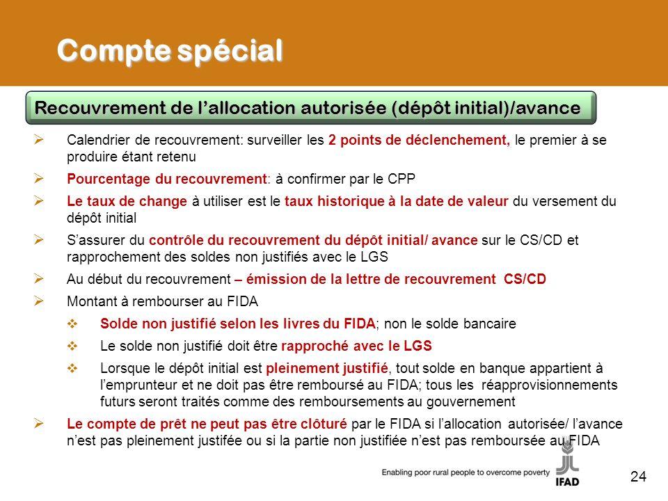 Compte spécialRecouvrement de l'allocation autorisée (dépôt initial)/avance.