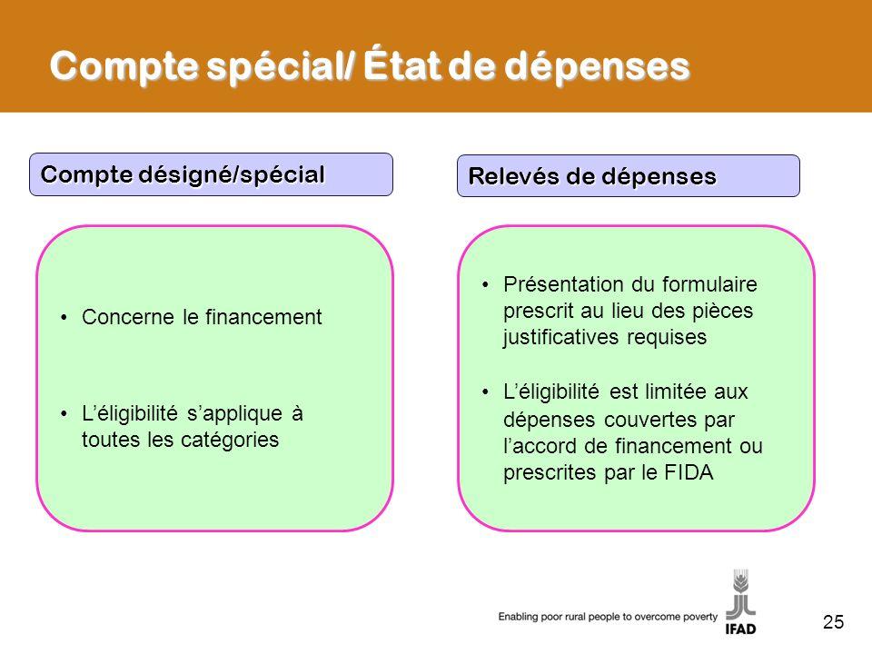 Compte spécial/ État de dépenses