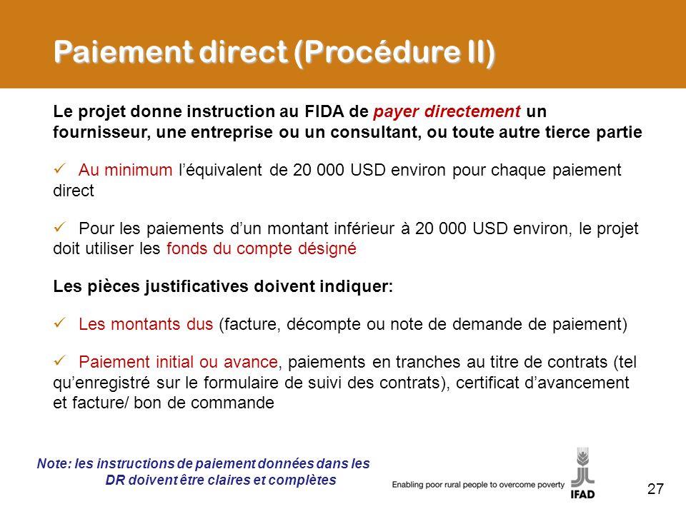 Paiement direct (Procédure II)