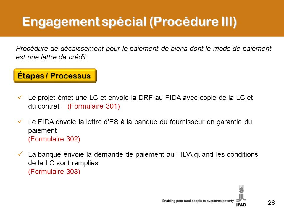 Engagement spécial (Procédure III)