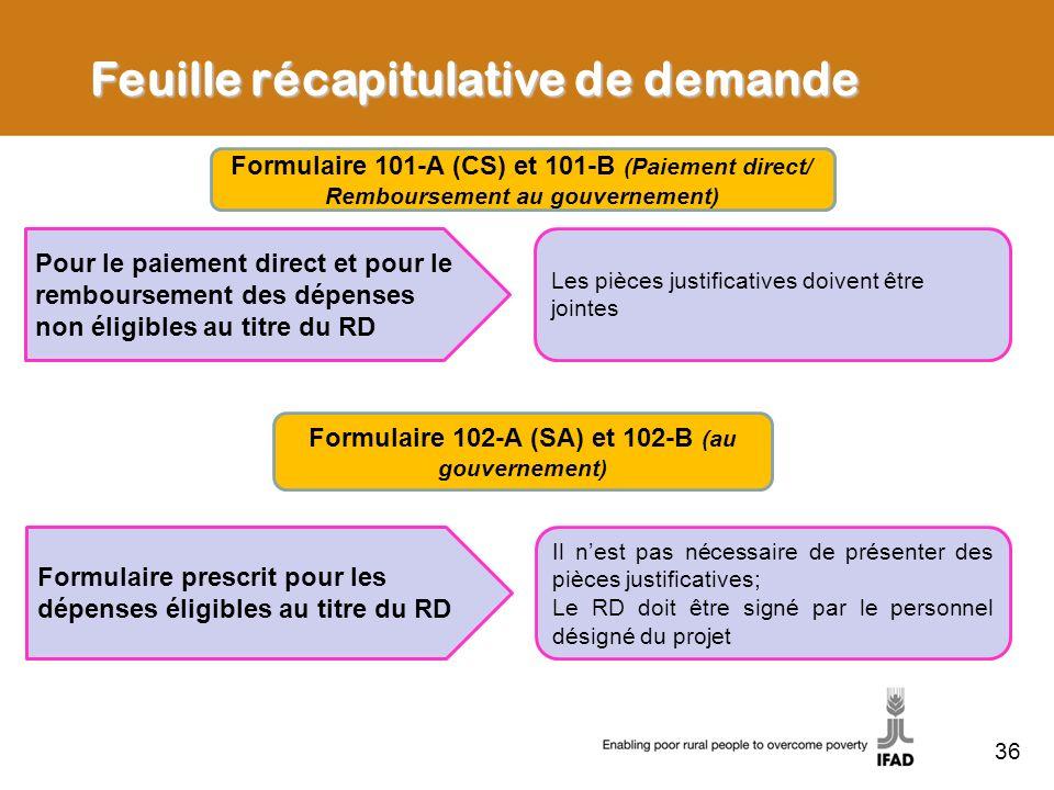Formulaire 102-A (SA) et 102-B (au gouvernement)
