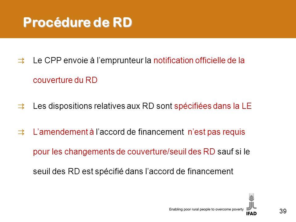 Procédure de RD Le CPP envoie à l'emprunteur la notification officielle de la couverture du RD.