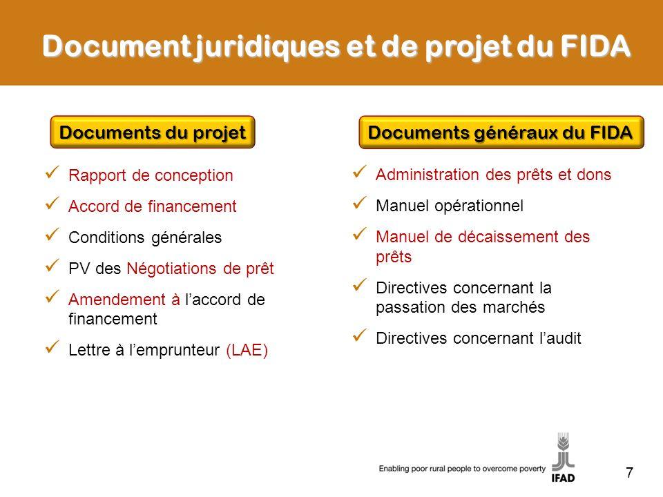 Document juridiques et de projet du FIDA