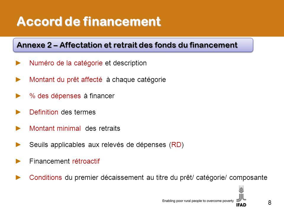 Accord de financementAnnexe 2 – Affectation et retrait des fonds du financement. Numéro de la catégorie et description.