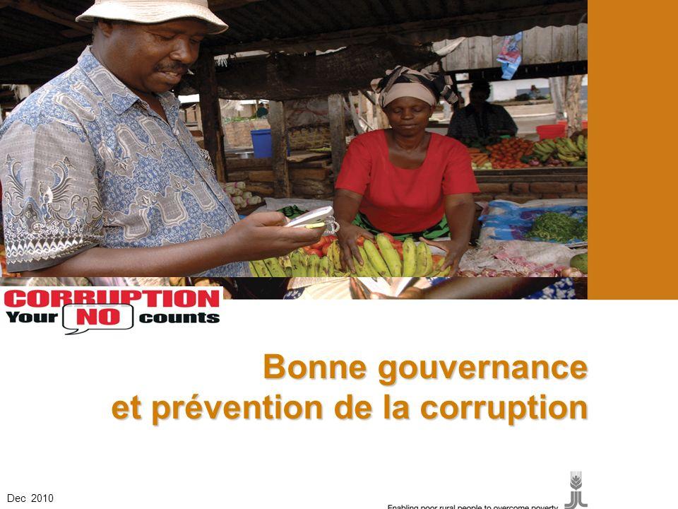 et prévention de la corruption