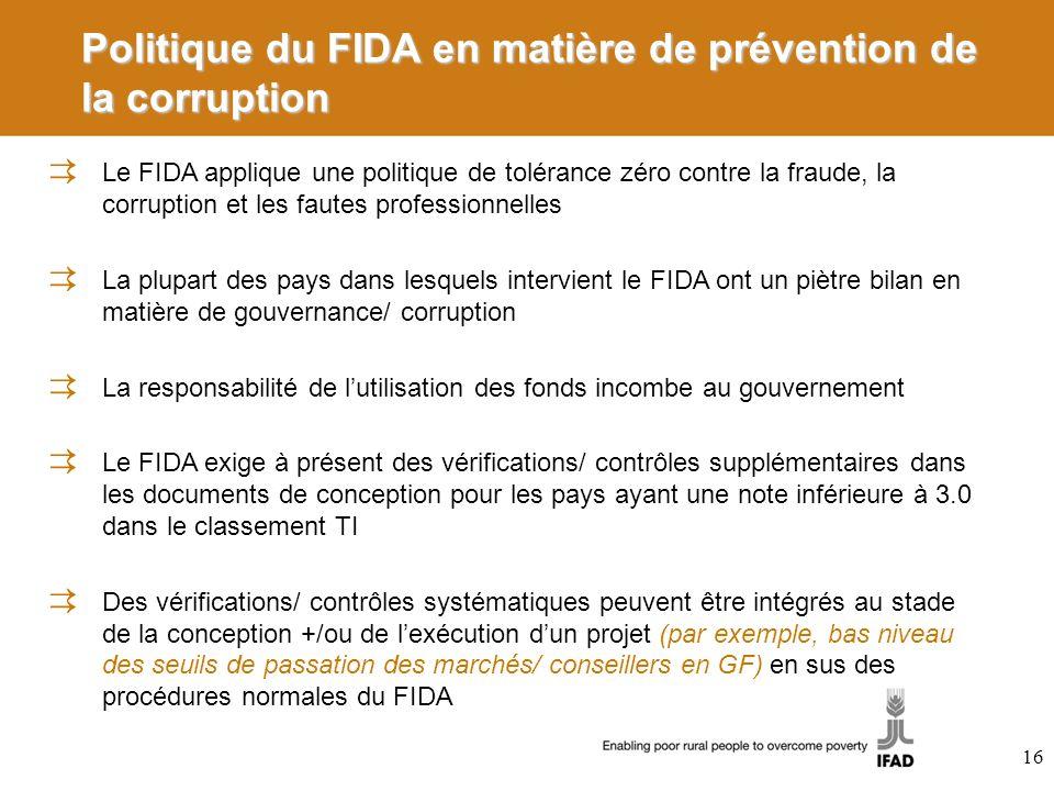 Politique du FIDA en matière de prévention de la corruption