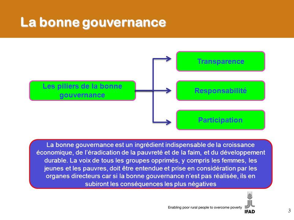 Les piliers de la bonne gouvernance