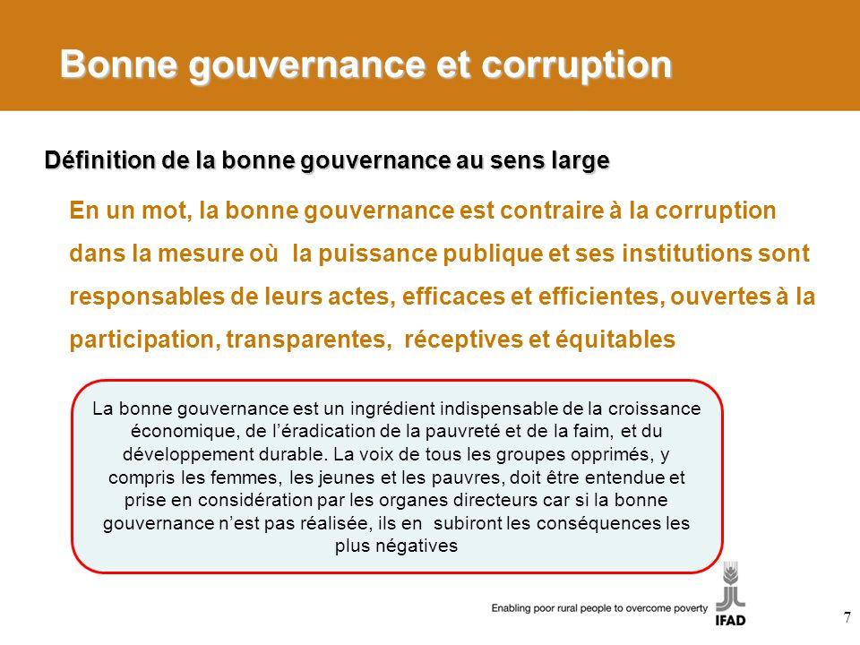 Bonne gouvernance et corruption