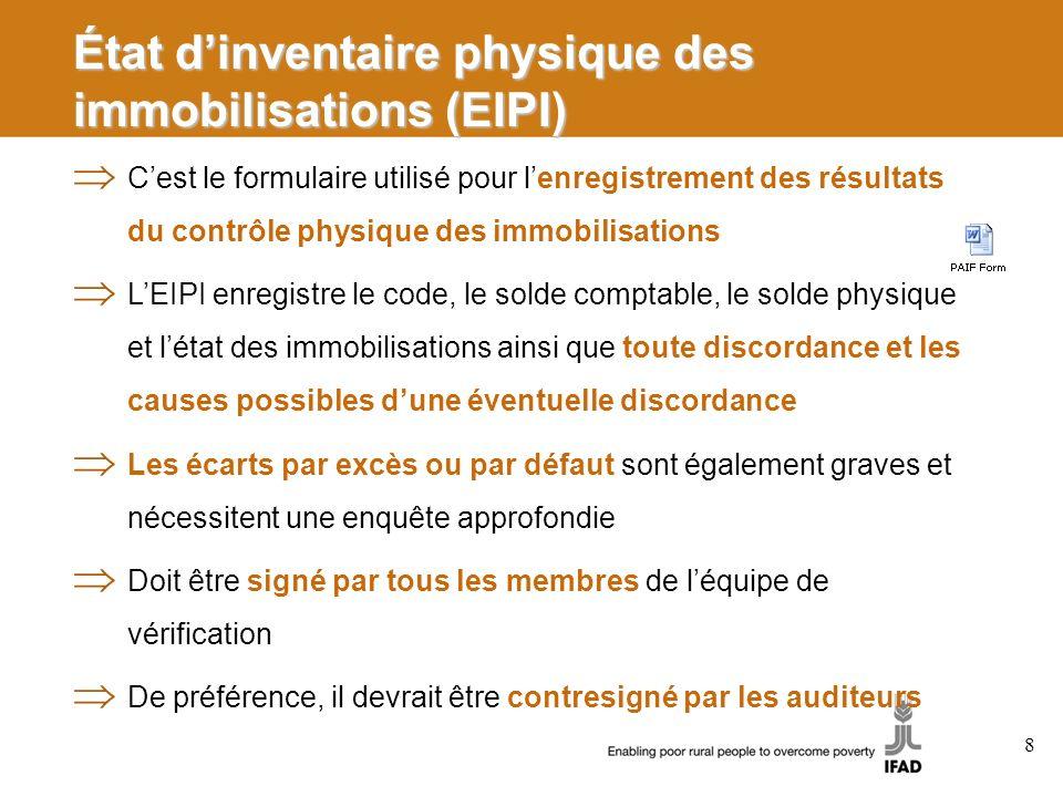 État d'inventaire physique des immobilisations (EIPI)