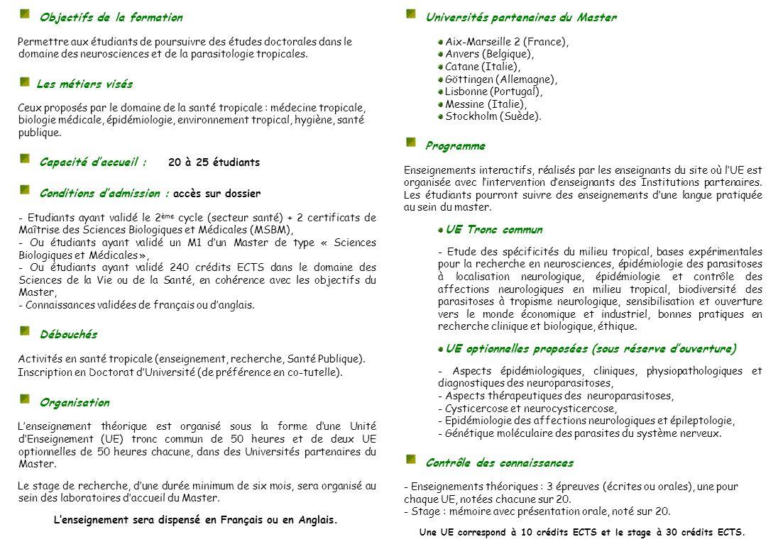 Une UE correspond à 10 crédits ECTS et le stage à 30 crédits ECTS.