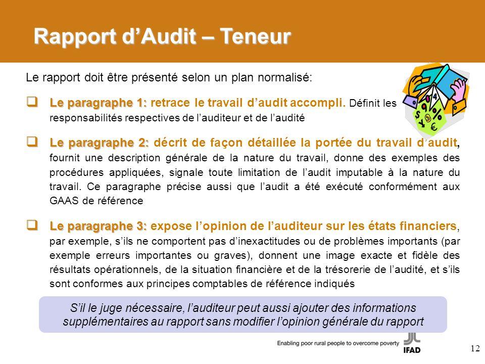 Rapport d'Audit – Teneur