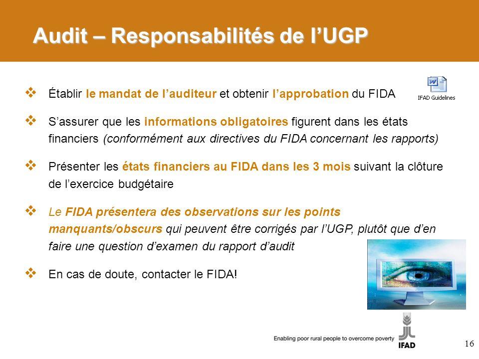 Audit – Responsabilités de l'UGP