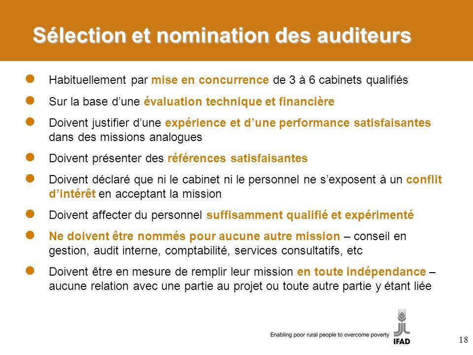 Sélection et nomination des auditeurs
