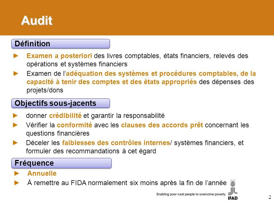 Audit Définition Objectifs sous-jacents Fréquence
