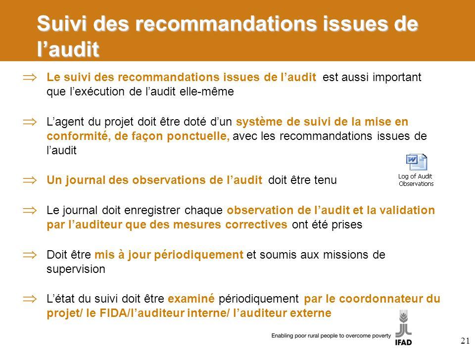 Suivi des recommandations issues de l'audit