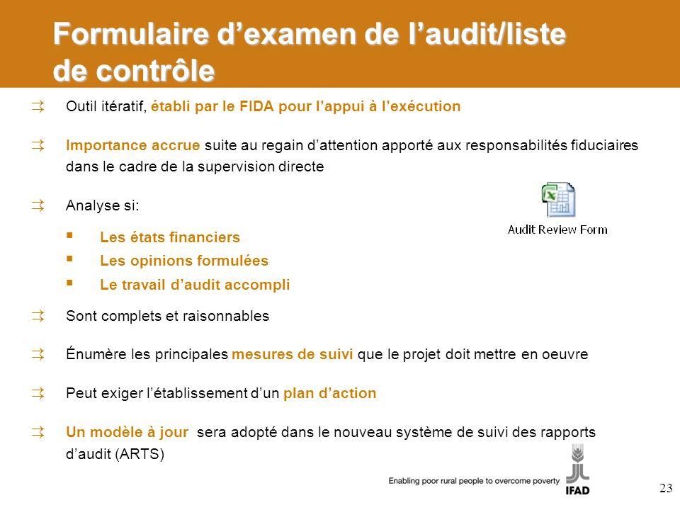 Formulaire d'examen de l'audit/liste de contrôle