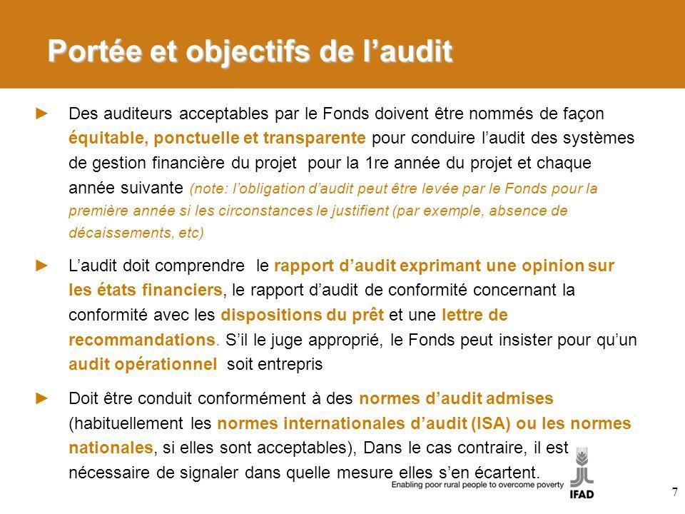 Portée et objectifs de l'audit