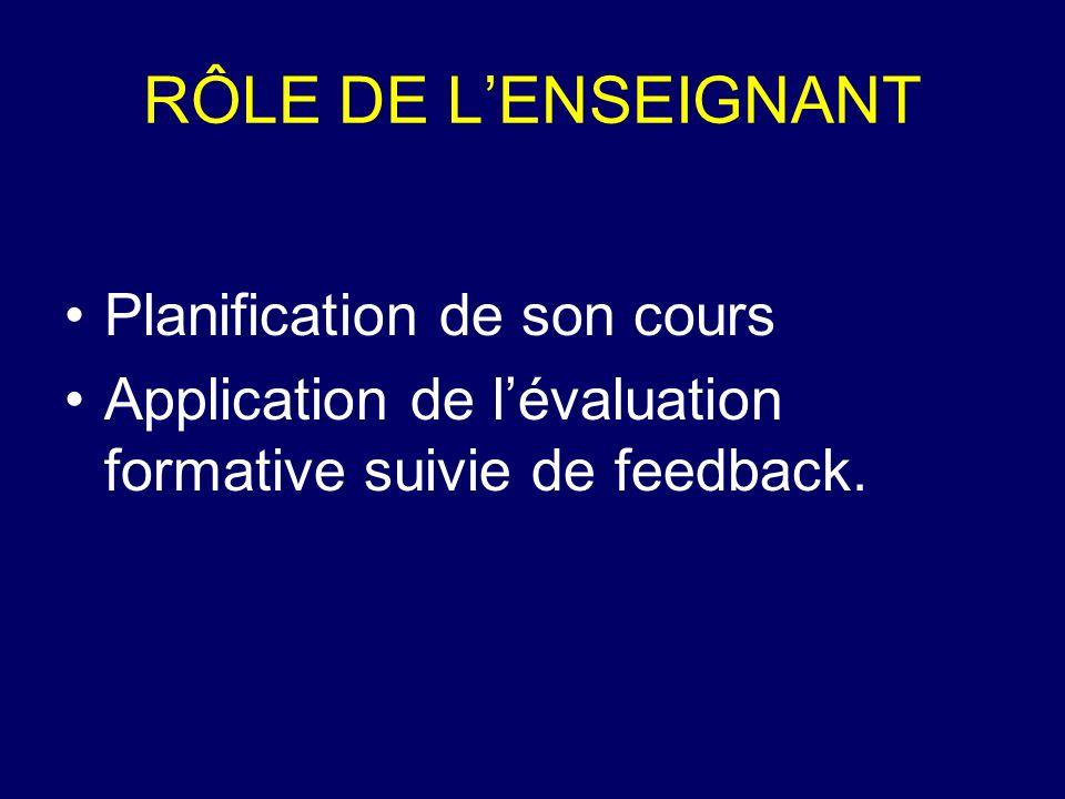 RÔLE DE L'ENSEIGNANT Planification de son cours