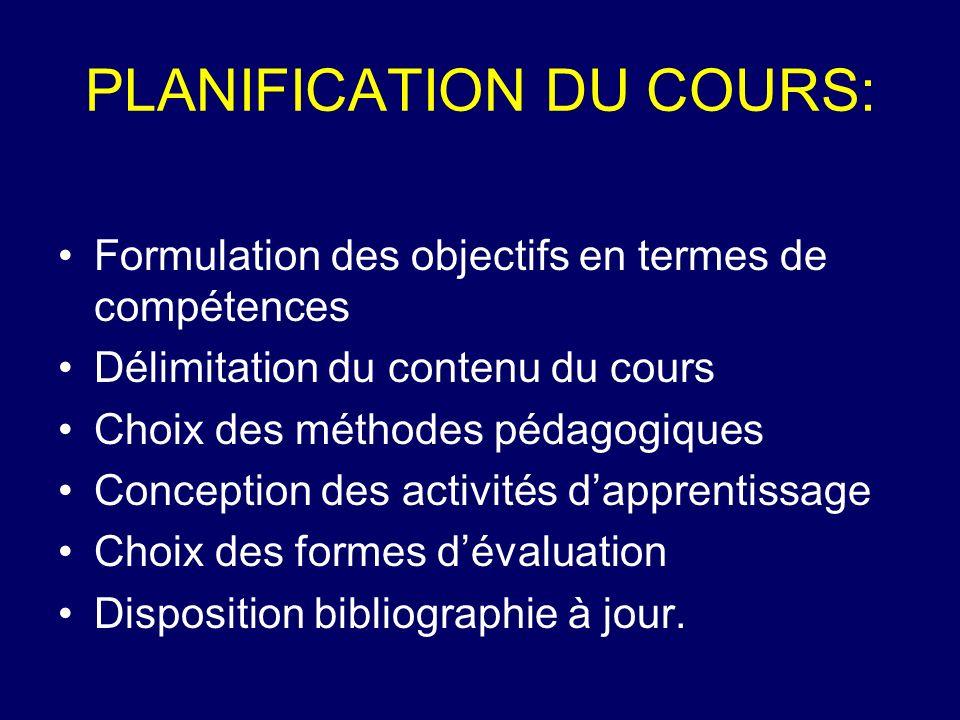 PLANIFICATION DU COURS: