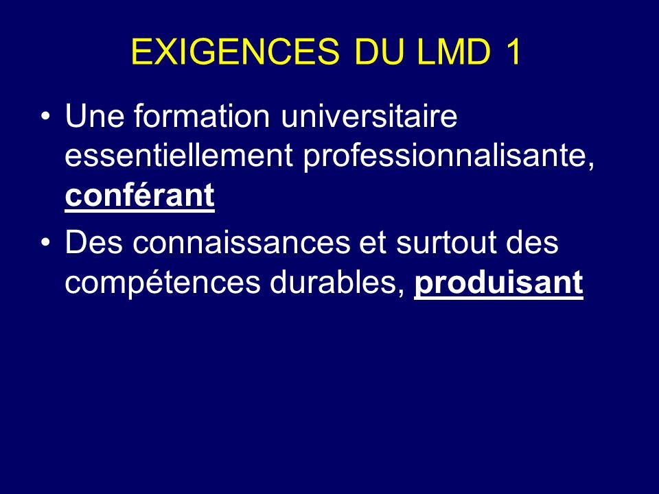 EXIGENCES DU LMD 1 Une formation universitaire essentiellement professionnalisante, conférant.