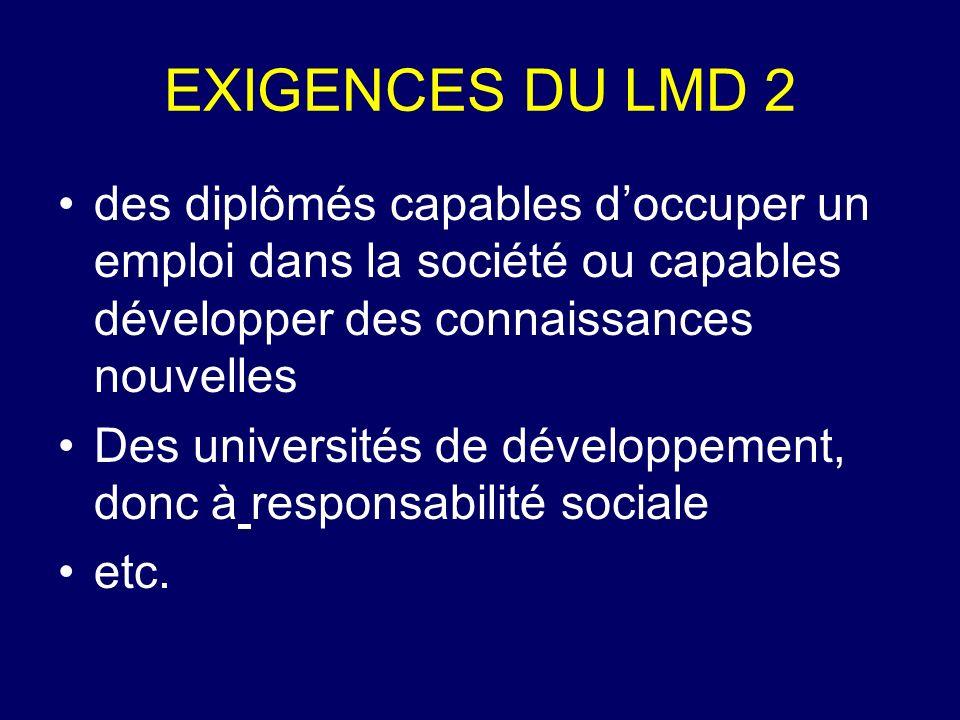 EXIGENCES DU LMD 2 des diplômés capables d'occuper un emploi dans la société ou capables développer des connaissances nouvelles.