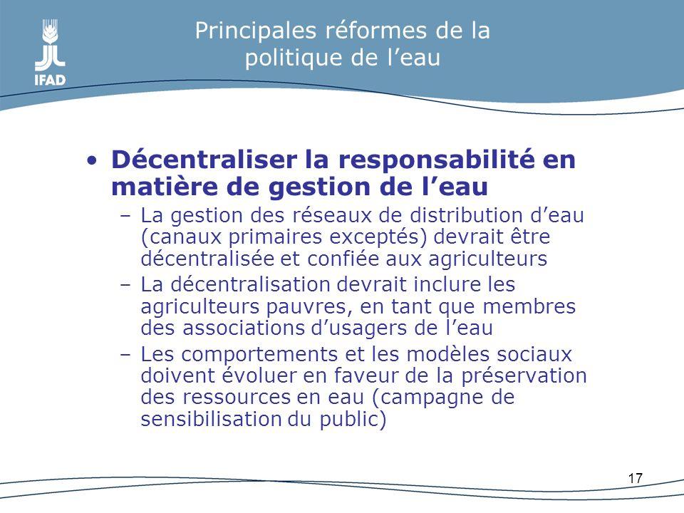 Principales réformes de la politique de l'eau