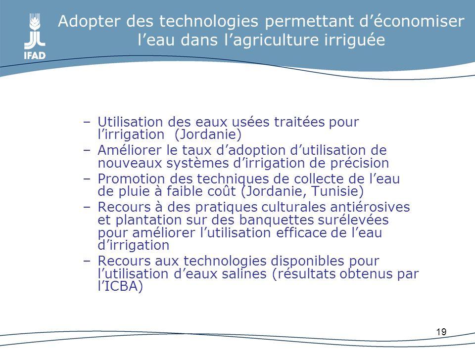 Adopter des technologies permettant d'économiser l'eau dans l'agriculture irriguée