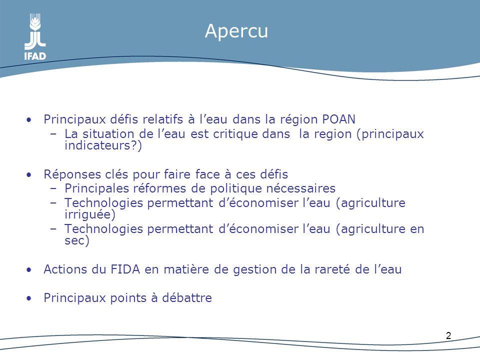 Apercu Principaux défis relatifs à l'eau dans la région POAN