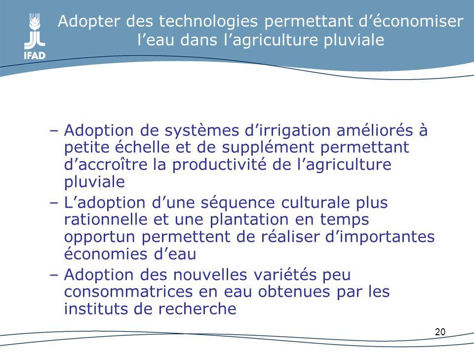 Adopter des technologies permettant d'économiser l'eau dans l'agriculture pluviale
