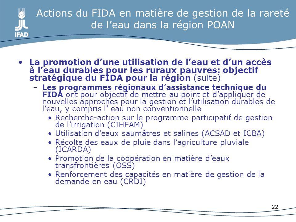 Actions du FIDA en matière de gestion de la rareté de l'eau dans la région POAN