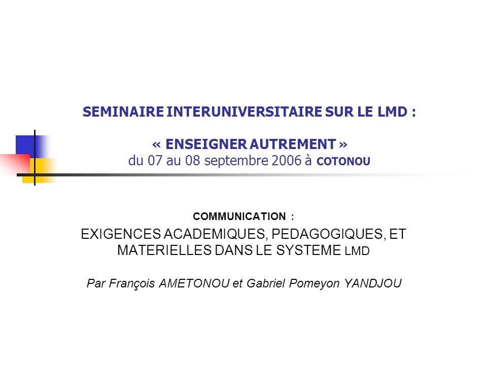 Par François AMETONOU et Gabriel Pomeyon YANDJOU