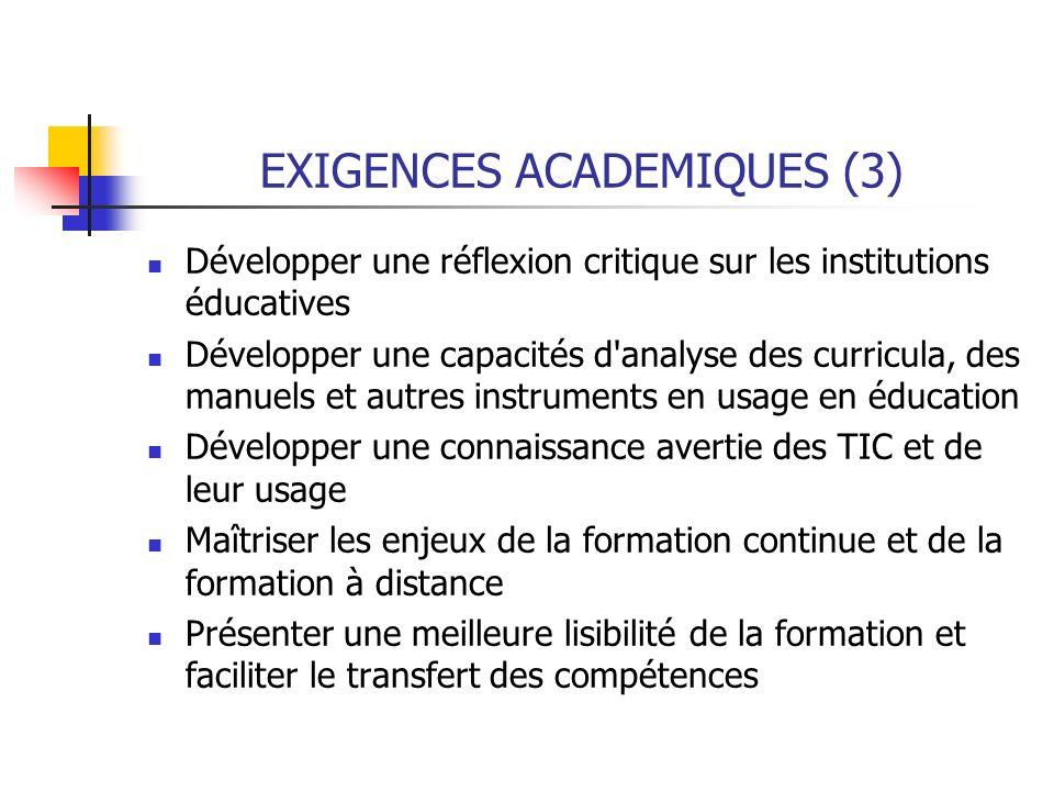 EXIGENCES ACADEMIQUES (3)