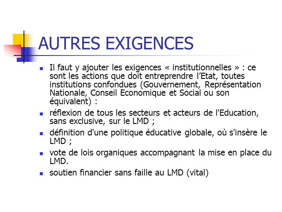 AUTRES EXIGENCES