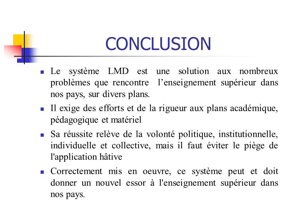 CONCLUSION Le système LMD est une solution aux nombreux problèmes que rencontre l'enseignement supérieur dans nos pays, sur divers plans.