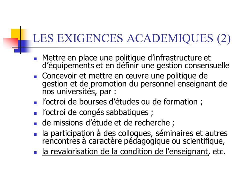 LES EXIGENCES ACADEMIQUES (2)