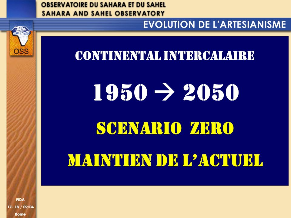 EVOLUTION DE L'ARTESIANISME CONTINENTAL INTERCALAIRE