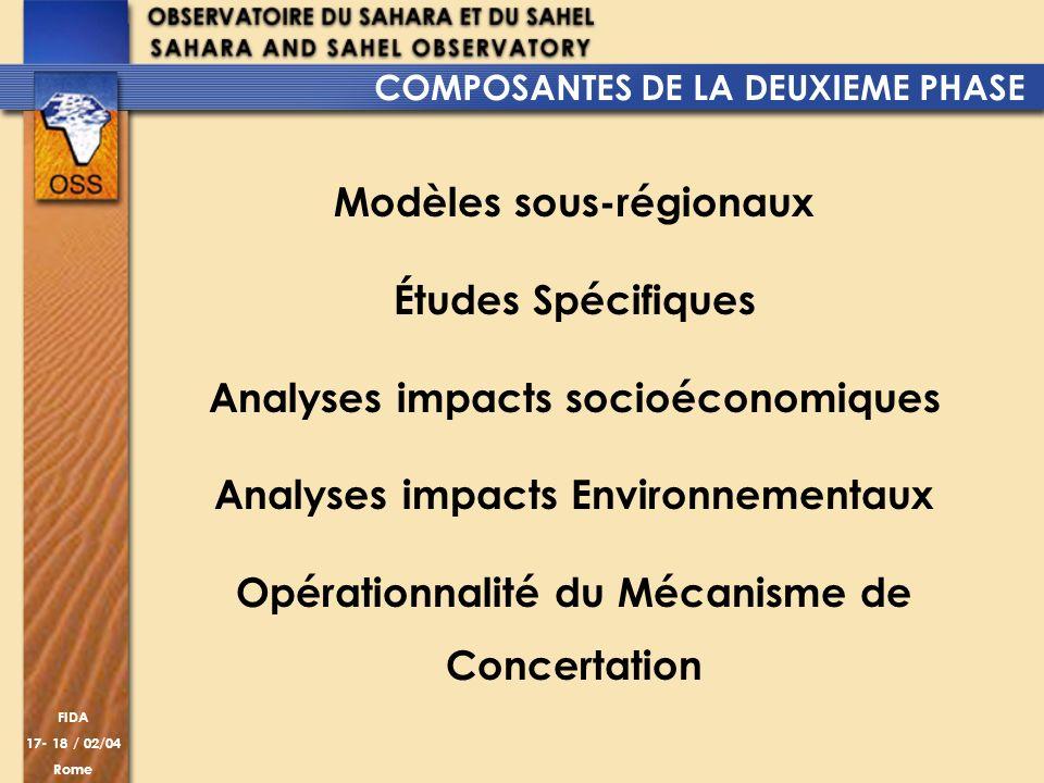 Modèles sous-régionaux Études Spécifiques