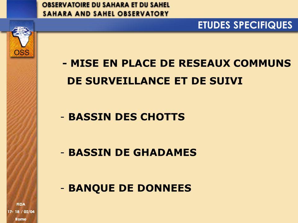 ETUDES SPECIFIQUES - MISE EN PLACE DE RESEAUX COMMUNS. DE SURVEILLANCE ET DE SUIVI. BASSIN DES CHOTTS.