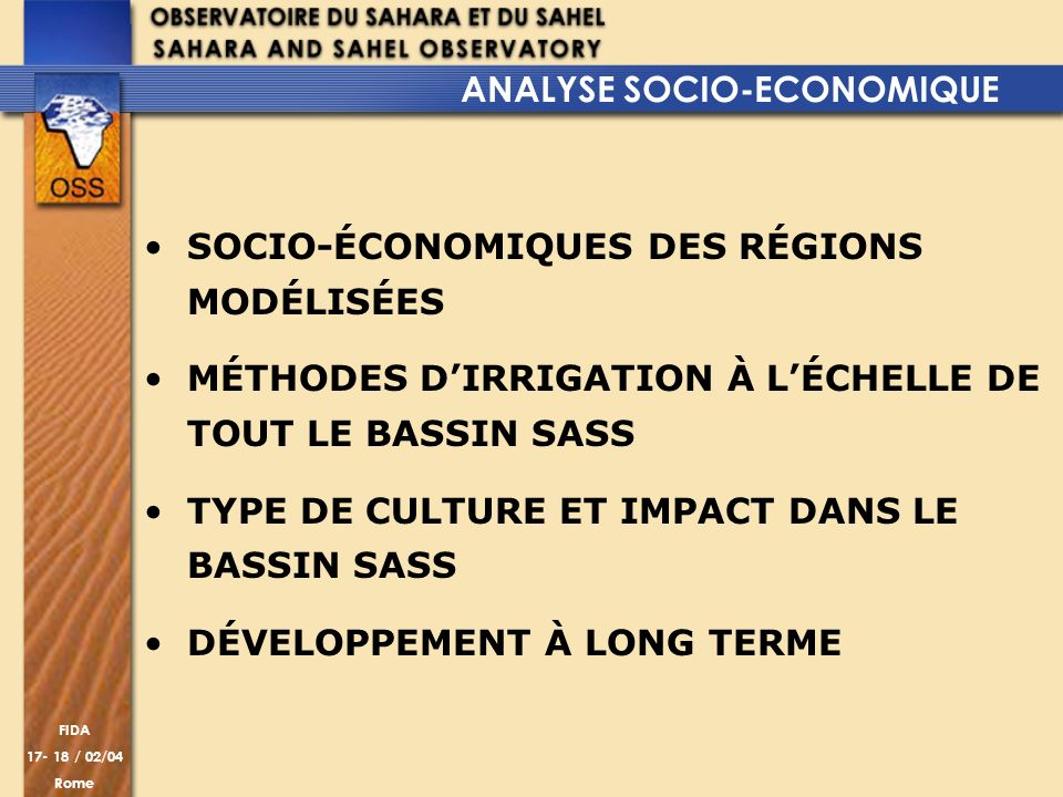 ANALYSE SOCIO-ECONOMIQUE