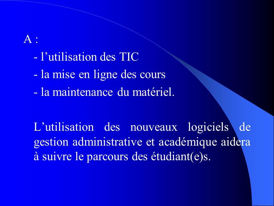 A :- l'utilisation des TIC. - la mise en ligne des cours. - la maintenance du matériel.